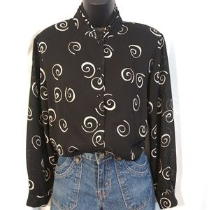 Pendleton petite black button up/ white swirls